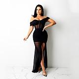 Club Women Off Shoulder Mesh Pure Color Sexy Long Dress KA7188