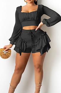 Black Low Cut Long Sleeve Crop Top Cute Mid Waist Ruffle Shorts Two-Piece MTY6566-3