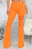 Orange Personality Hole Pure Color Elastic Jean Flare Pants SMR2475-1