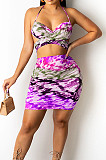 Purple Sexy Strapless Halter Neck Backless Tank Short Skirts Two Piece SZS8089-3