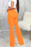 Rose Red Personality Hole Pure Color Elastic Jean Flare Pants SMR2475-2