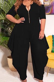 Black Big Yards Pure Color Half Sleeve Off Shoulder Zipper Loose Jumpsuits S66305-3