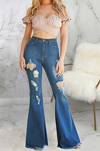 Dark Blue Casual Hole High Waist Elastic Jean Flare Pants SMR2570