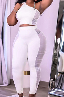White Tight Pure Color Sleeveless Top With China Mid Waist Long Pants Two-Piece MTY6552-1