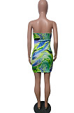 Wine Red Print Strapless Backless Bandage Dew Waist Sexy Hip Dress T226-3
