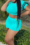 Neon Green Brace Horn Sleeve Round Neck Crop Top Shorts Two Piece SZS8076-4