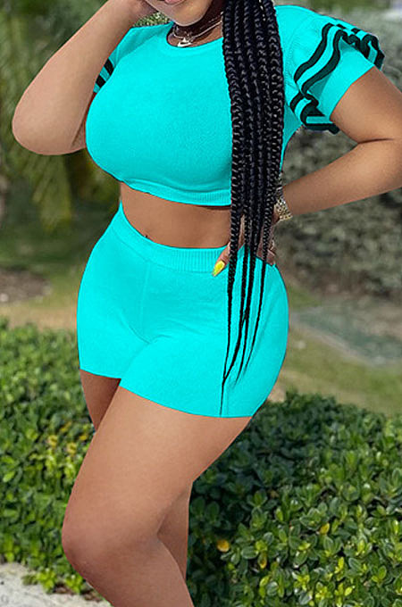 Lake Blue Brace Horn Sleeve Round Neck Crop Top Shorts Two Piece SZS8076-5