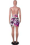 Orange Sexy Strapless Halter Neck Backless Tank Short Skirts Two Piece SZS8089-2