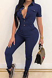Dark Blue Casual Lapel Neck Short Sleeve Single-Breasted Bodycon Jumpsuits SN390172-2