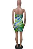 Green Print Strapless Backless Bandage Dew Waist Sexy Hip Dress T226-1