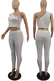 Purple Tight Pure Color Sleeveless Top With China Mid Waist Long Pants Two-Piece MTY6552-4
