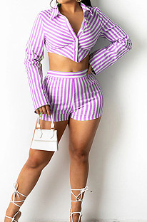 Purple Lapel Neck Button Long Sleeve Crop Shirts Mid Waist Shorts Two Piece SZS8101-1