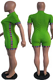 Green Half High Neck Zipper Spliced Short Sleeve Slim Fitting Romper Shorts T236-2