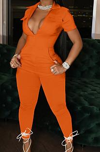 Orange Lapel Collar Zipper Pure Color Short Sleeve Causal With Pocket Jumpsuits LML247-1
