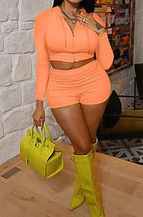 Orange Casual Hoodie Zipper Long Sleeve Crop Top Shorts Sports Two Piece QSS51026-2