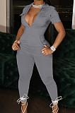 Black Lapel Collar Zipper Pure Color Short Sleeve Causal With Pocket Jumpsuits LML247-2