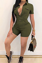 Army GreenCasual Lapel Neck Short Sleeve Single-Breasted Romper Shorts SN390171-3