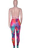 Rose Red Summer Tie Dye Print Hollow Out Bandage Bikini Pencil Pants Bodcoy Jumpsuits SN390150-1