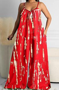 Red Summer Tie Dye Print Condole Belt V Collat Casual Wide Leg Jumpsuits AMX6039-1