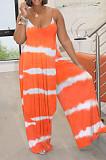 Tie Dye Blue Digital Print Condole Belt Tank Low Cut Sexy Wide Leg Jumpsuits YYF8231-2