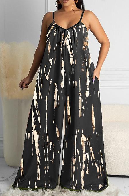 Black Summer Tie Dye Print Condole Belt V Collat Casual Wide Leg Jumpsuits AMX6039-3