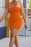 Orange  Night Club Solid Color Condole Belt Backless Button Elastic Waist Hip Dress AMX6051-2