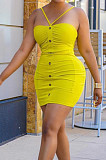 Yellow Night Club Solid Color Condole Belt Backless Button Elastic Waist Hip Dress AMX6051-1