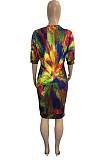 Rainbow Print Plus Size Round Neck Short Sleeve Casual T-Shirt Midi Dress HHB4038