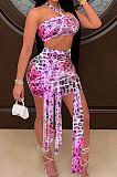 Pink Sexy Mesh Bandage Halter Neck Strapless High Waist Short Skirts Kontted Sets SN390138-2