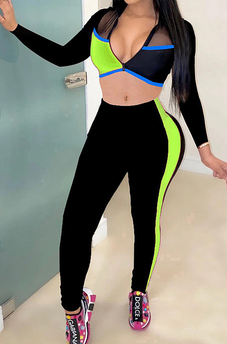 Neon Green Fashion Spliced V Neck Long Sleeve Crop Top Tight Pants Two-Piece YMT6227-2