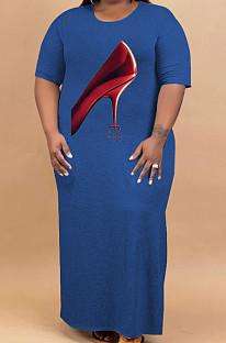 Blue Plus Size Print O Neck Shorts Sleeve Loose T-Shirt Slit Dress HHB4002-2