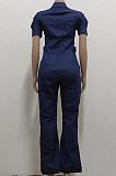 Blue Casual Lapel Neck Zipper Short Sleeve Slim Fitting Jean Wide Leg Jumpsuits SMR2928-1