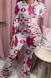 Red Tie Dye Round Neck Long Sleeve Casual Long Pants Two-Piece YSS8040-1