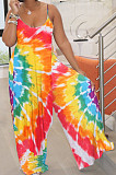 Stripe Tie Dye Black Digital Print Condole Belt Tank Low Cut Sexy Wide Leg Jumpsuits YYF8231-3
