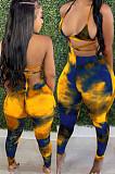 Yellow Summer Tie Dye Print Hollow Out Bandage Bikini Pencil Pants Bodcoy Jumpsuits SN390150-2