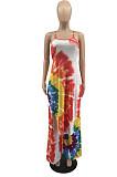 Tie Dye Red Digital Print Condole Belt Tank Low Cut Sexy Wide Leg Jumpsuits YYF8231-1