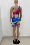 Colorful Tie Dye Print U Neck Sleeveless Bandage Tank Two-Piece ZQ8097