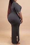Grey Plus Size Print O Neck Shorts Sleeve Loose T-Shirt Slit Dress HHB4002-1
