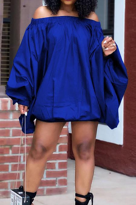 Blue A Word Shoulder Lantern Sleeve Solid Color Loose Mini Dress H1675-3
