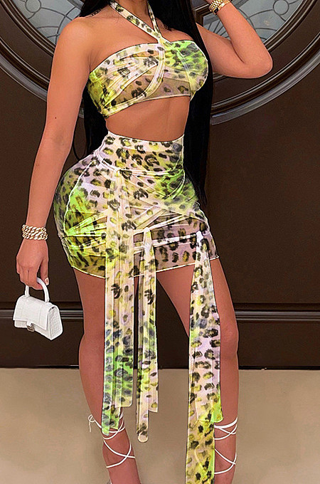 Green Sexy Mesh Bandage Halter Neck Strapless High Waist Short Skirts Kontted Sets SN390138-3