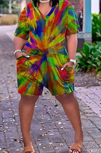 Rainbow Print Plus Size O Neck Short Sleeve Losse Romper Shorts HHB4006
