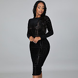 Black See-Through Print Mesh O Neck Long Sleeves Bodycon Sexy Dress ME7111