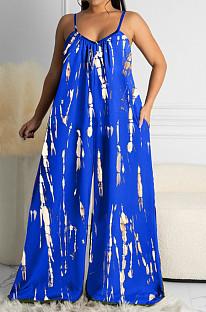 Blue Summer Tie Dye Print Condole Belt V Collat Casual Wide Leg Jumpsuits AMX6039-2