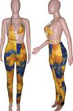 Cyan BlueSummer Tie Dye Print Hollow Out Bandage Bikini Pencil Pants Bodcoy Jumpsuits SN390150-3