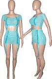 Cyan Mesh See-Througk Bandage Off Shoulder Short Sleeve Crop Top High Waist Mini Skirts Sets SN390142-2
