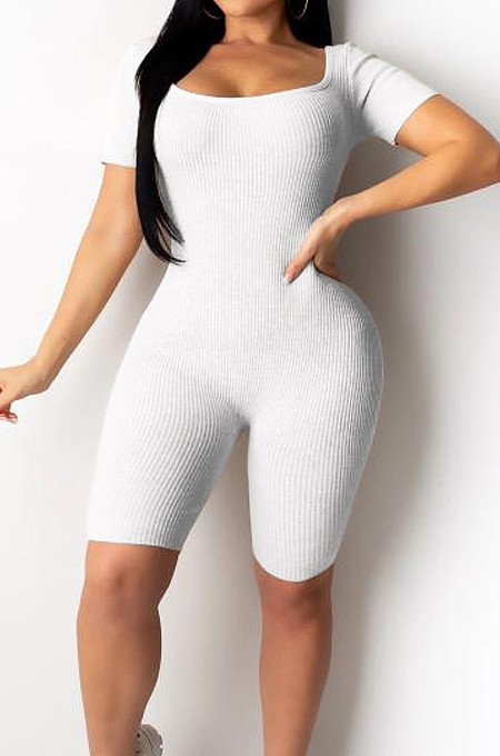 White Night Club Square Neck Short Sleeve Back Hollow Out Bandage Romper Shorts ZQ9198-1