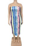 Blue Fashion Plus Sise Tie Dye Stripe Print Strapless Bodycon Dress AMX6050