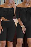 Cyan Solid Color Summer A Word Shoulder Loose Short Sleeve Half Pants Casual Sets SN390143-1