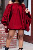 Red A Word Shoulder Lantern Sleeve Solid Color Loose Mini Dress H1675-2