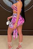 Orange Sexy Mesh Bandage Halter Neck Strapless High Waist Short Skirts Kontted Sets SN390138-1